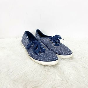 Keds Blue White Print Canvas Lace-up Sneakers